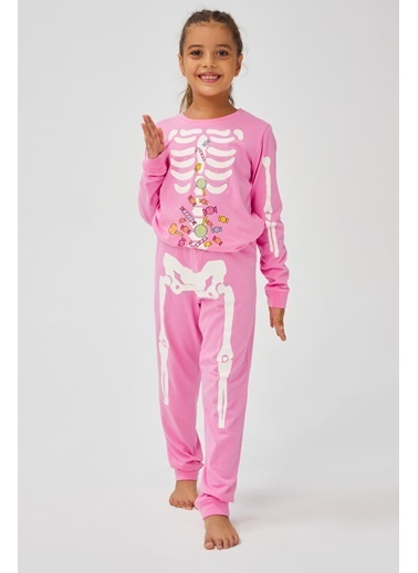 Penti Çok Renkli Kız Çocuk Skeleton 2Li Pijama Takımı Renkli